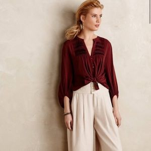 Anthropologie Maeve Pintuck Peasant Blouse